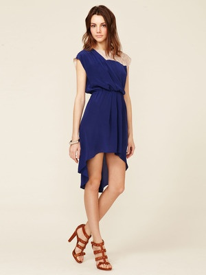 Geren Ford Contrast Yoke Draped Silk Dress