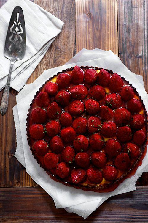 Basil Strawberry Lime Curd Tart