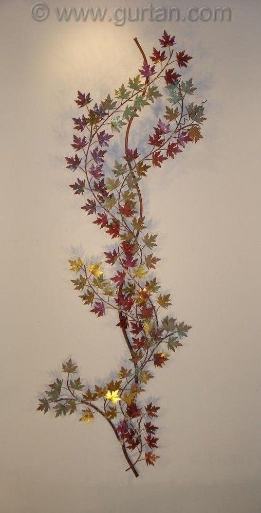 Vertical Metal Wall Decor : Grape vine metal wall art vertical piece for the home