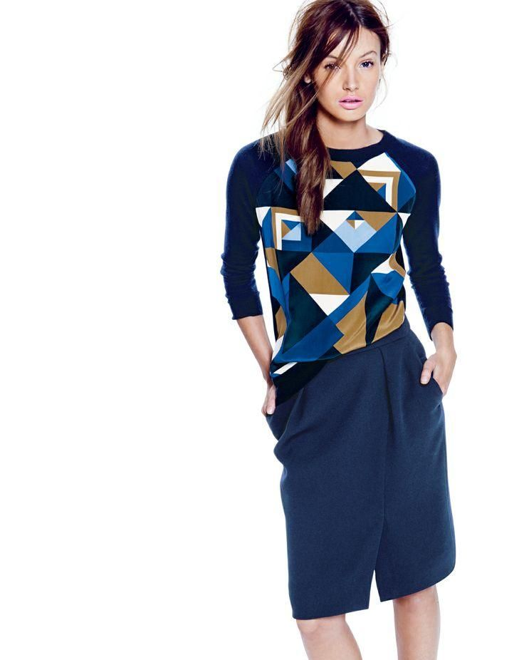 J.Crew merino silk panel sweater in cubist print and the drapey crepe pencil skirt.