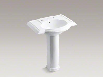 19 Inch Pedestal Sink : Kohler Devonshire Pedestal: 27.5 inch long, 19.75 inch wide.