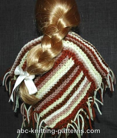 ABC Knitting Patterns - American Girl Doll Easy Garter Stitch Poncho from Leftover Yarn. Pattern is a little confusing as written, but can easily be constructed of a simple square and rectangle, sewn together as illustrated in the photos on the pattern.