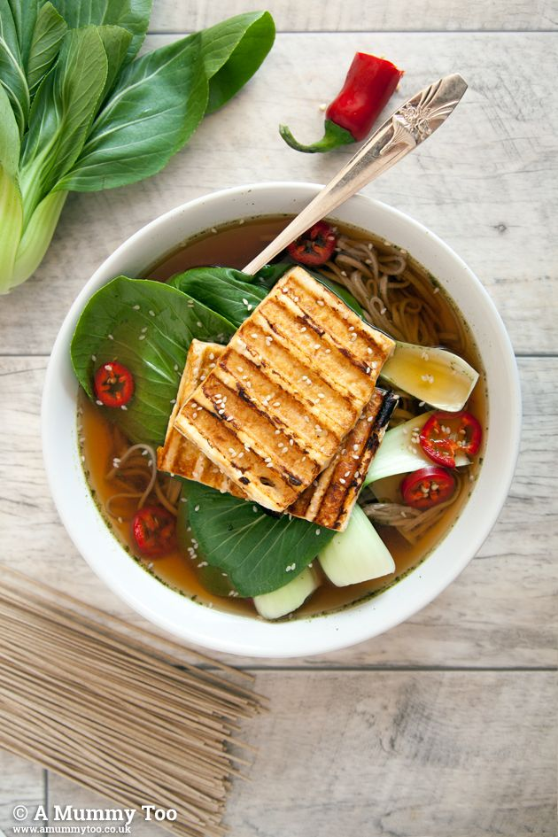Grilled tofu, bok choy, red chilli and soba noodle soup (vegan)