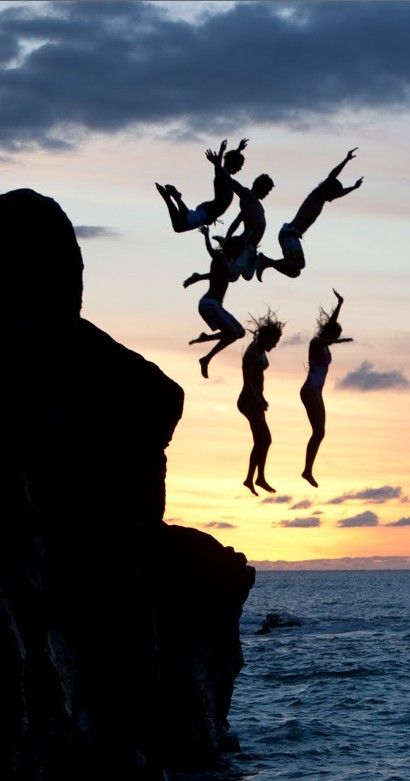 I have a picture similar to this! Only it involves a trampoline, not a cliff over a body of water :/