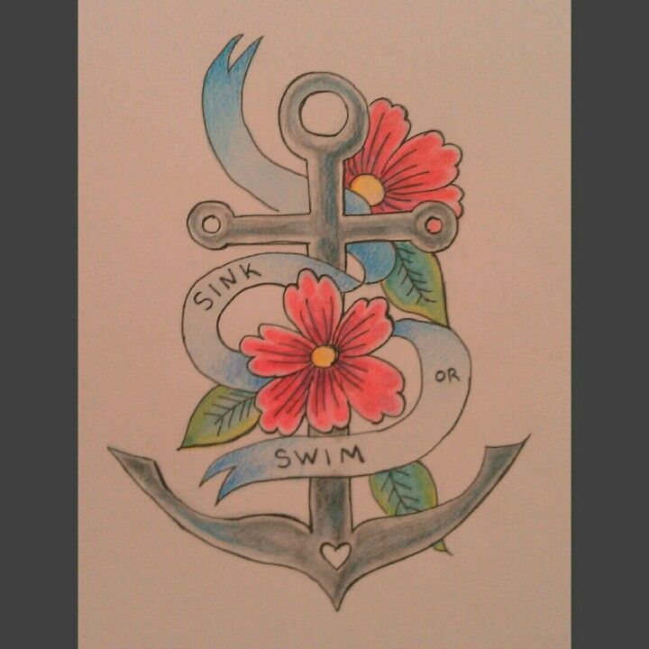 girly old school anchor tattoo doodle anchor tattoos pinterest. Black Bedroom Furniture Sets. Home Design Ideas