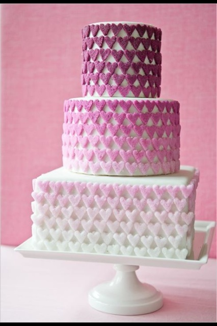 Ombre purple valentine cake... I LOVE this