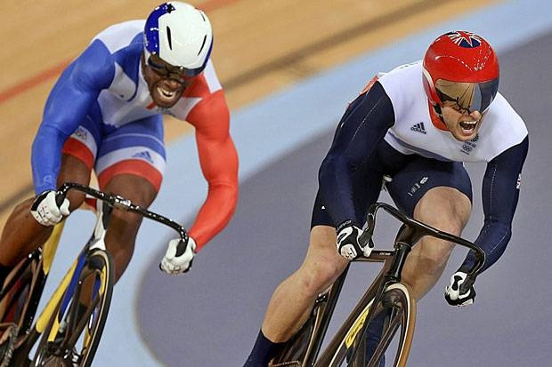 Olympics london 2012. Jason Kenny reaches for the track cycling sprint gold.  And grabs it. Blistering speed, courage and spirit.