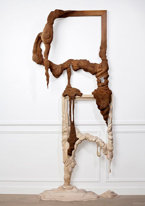 """melted"" wood sculptures"
