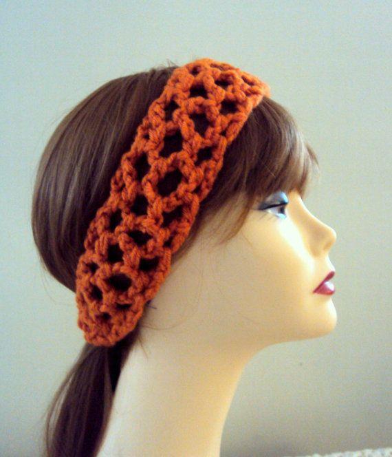 Crochet Elastic Hair Band : Crochet Head Band With Elastic Closure Orange Cinnamon Spring Summer ...