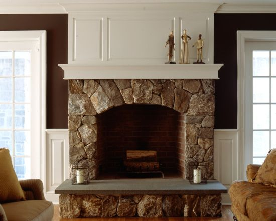 Stone Fireplace With Wainscot Walls For The Home Pinterest