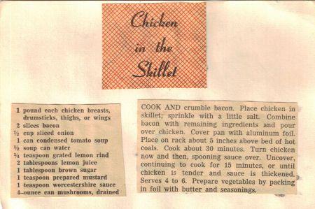 Vintage Chicken In The Skillet: Vintage Clipping | RecipeCurio.com