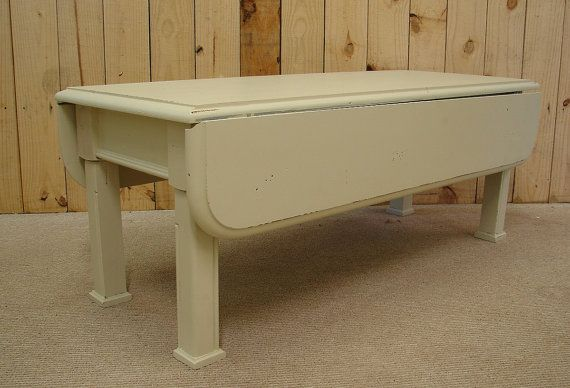 ... Putty Painted Broyhill Drop Leaf Coffee Table...legs.....46X20 175