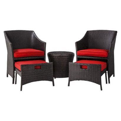 Threshold Loft 5 Piece Wicker Patio Conversation Furniture Set Bri