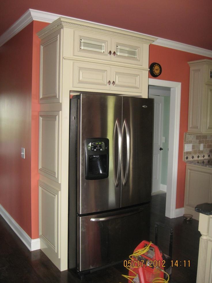 Refrigerator enclosure kitchen pinterest