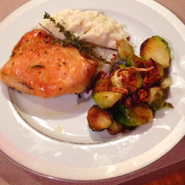 ... Thighs, Potato & Parsnip Puree and Roasted Brussels Sprouts With Bacon