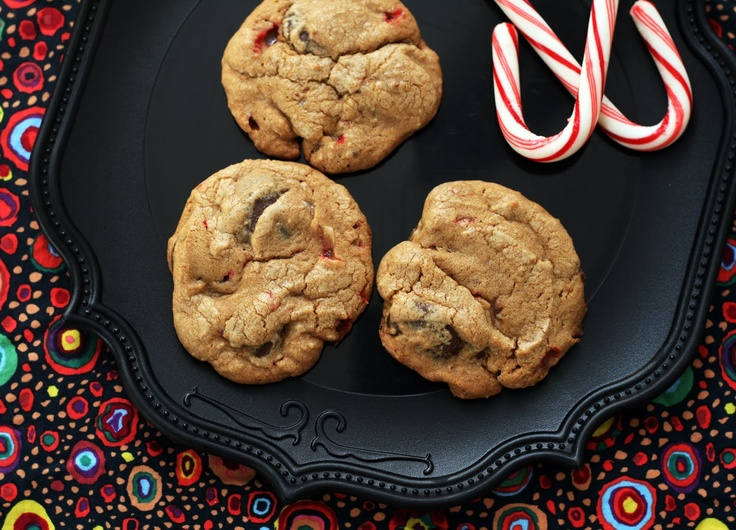 Dark Chocolate + Candy Cane Bits Cookies | Cookies | Pinterest