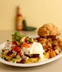 Kalamity Katie's Border Benedict - Green chili cheddar corn cakes ...