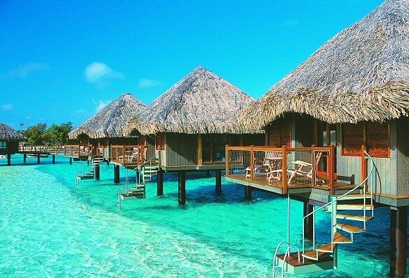 Over water bungalows places sights pinterest Overwater bungalows fiji
