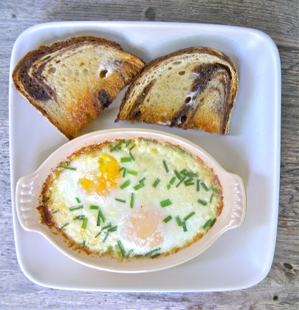 Baked Eggs With Ham, Cheddar, And Chives Recipes — Dishmaps