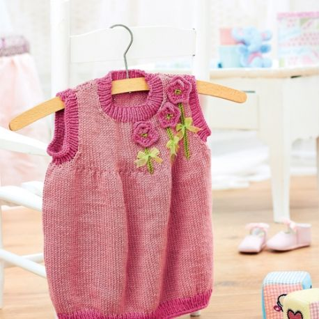 FREE KNITTING PATTERN BABY PINAFORE DRESS - VERY SIMPLE ...