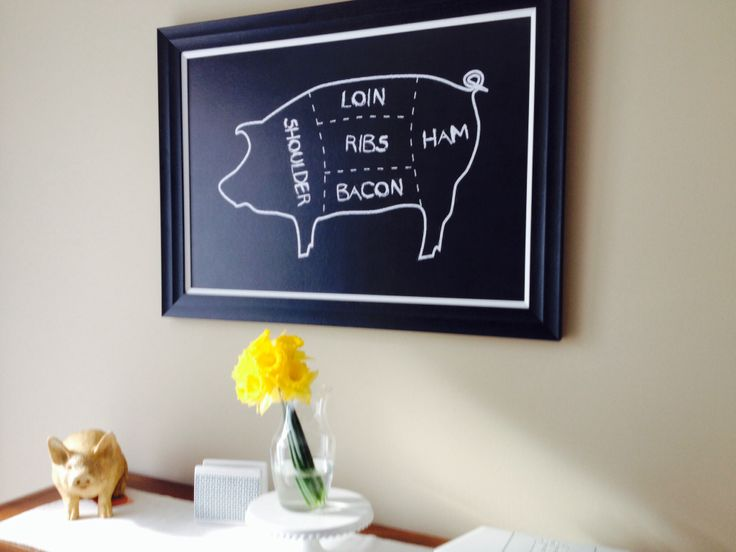 Chalkboard pig kitchen decor home sweet home pinterest Pig kitchen decor