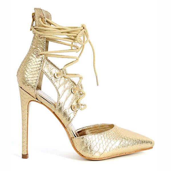 PROVOCATEUR METALLIC LACE UP PUMP in Gold available now at FLYJANE