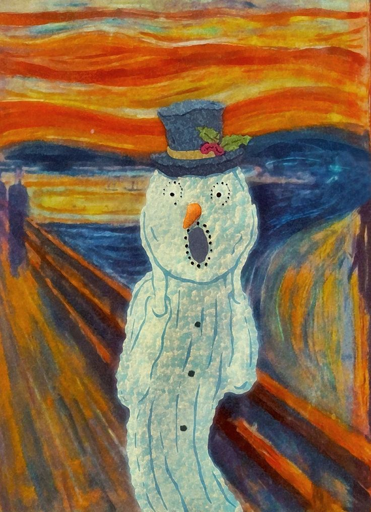 Snowy Scream - Edvard Munch The Scream Art Parody Boxed Holiday CardsThe Scream Edvard Munch Parody