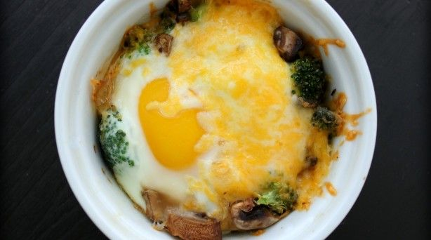 Baked Eggs w/Broccoli, Mushrooms & Cheese. I omitted the mushrooms ...