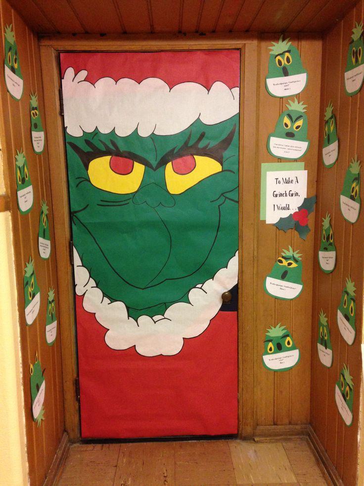 Grinch door door decoration ideas pinterest for Door idea pinterest