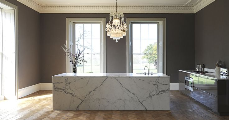Bespoke kitchen in burnished lacquer, English oak and statuary marble. Created by www.artichoke-ltd.com