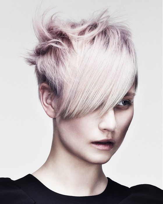 Short Blonde straight choppy coloured spikey platinum white womens haircut hairstyles for women