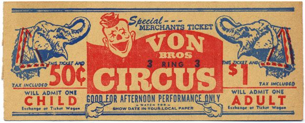 Stellar Old Circus Ticket