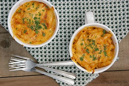 Pumpkin mac & cheese - healthier indulgence with the whole grain pasta, less cheese, and creaminess and flavor from pumpkin