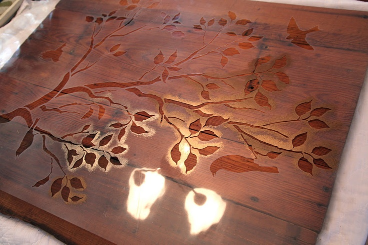 Stencils on wood house pinterest - Painting with stencils on wood ...