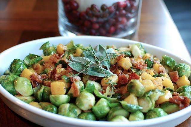 ... Au Vin: Brussels Sprouts & Butternut Squash with Bacon Vinaigrette