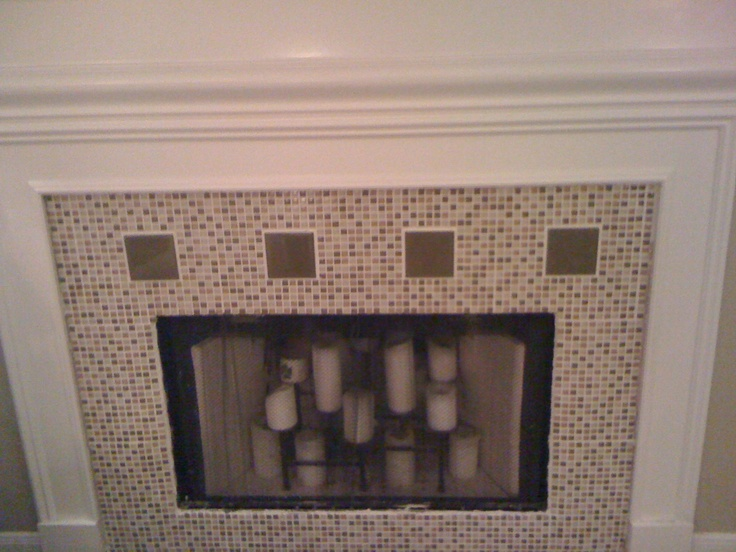 fireplace redo with glass mosaic tile for the home