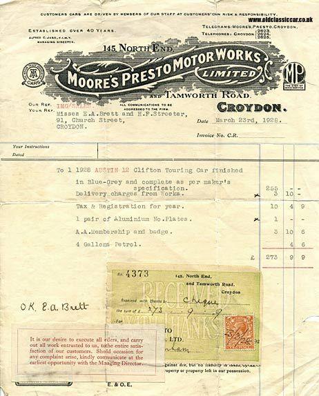 Vintage Invoice 117