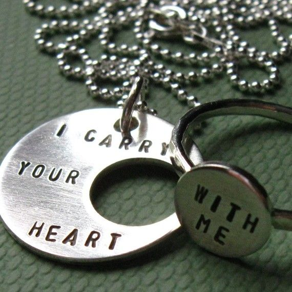 i carry your heart with me (i carry it in my heart) e.e. cummings Pendant and Ring Set. LOVE this. i think i need this.