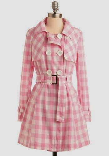 Pink Gingham Coat With Belt