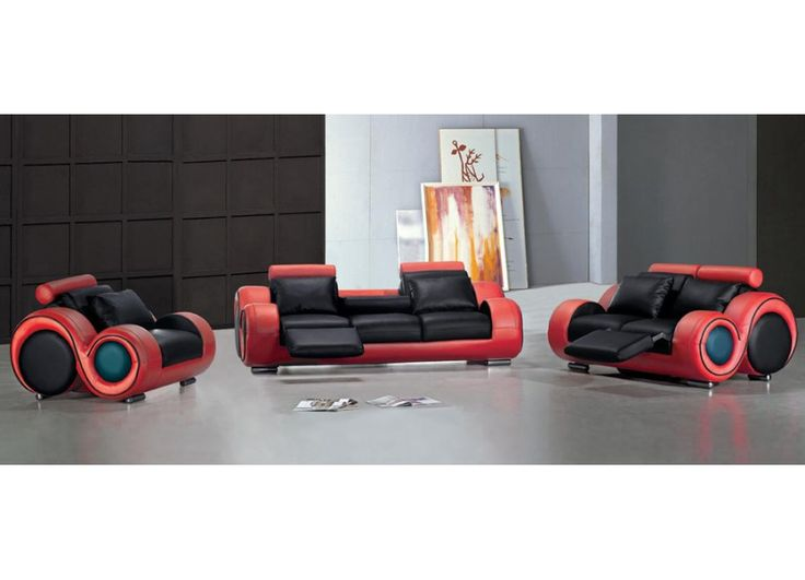 Modern Black And Red Leather Sofa Set Selfishness