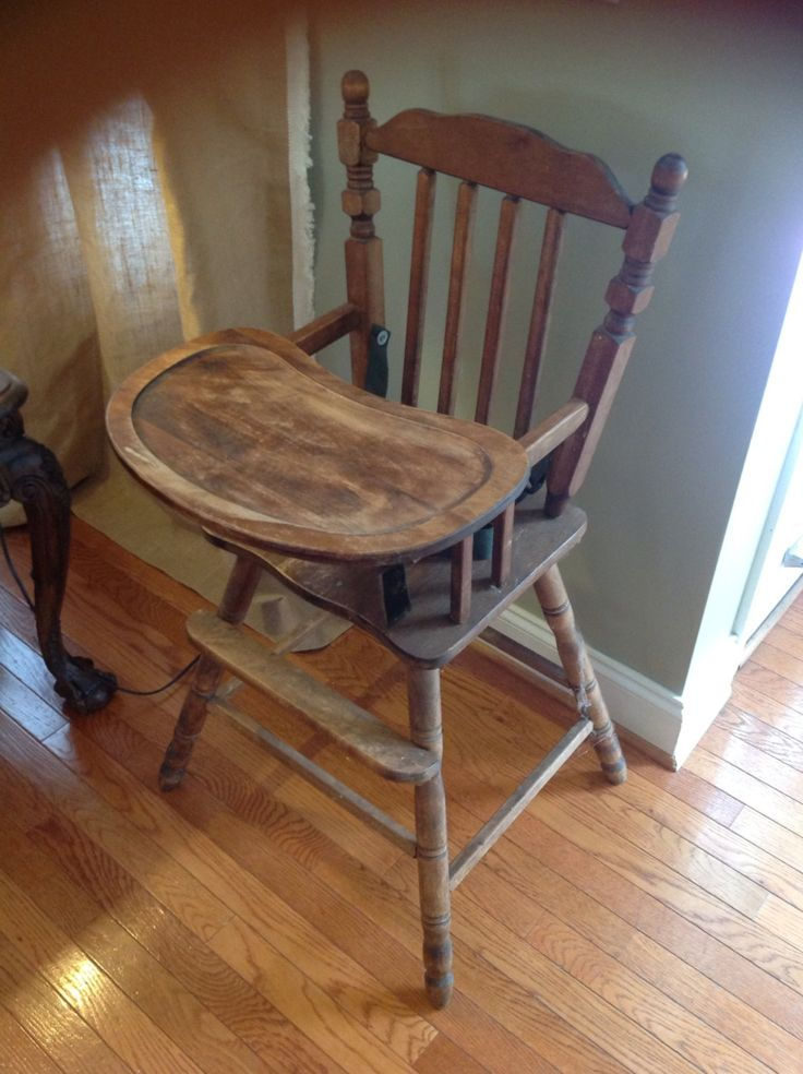 Antique wood high chair for Antique high chairs