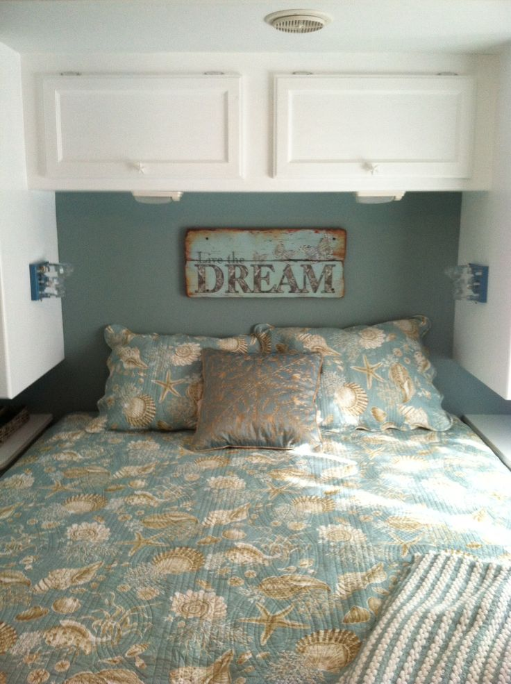 Rv bedroom remodel beach theme glamping pinterest - Trailer bedroom ideas ...