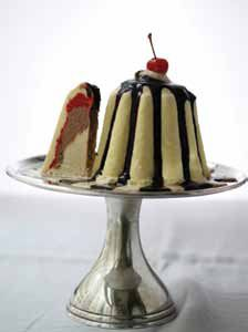 Banana Split Bombe Glace with Chocolate Sauce