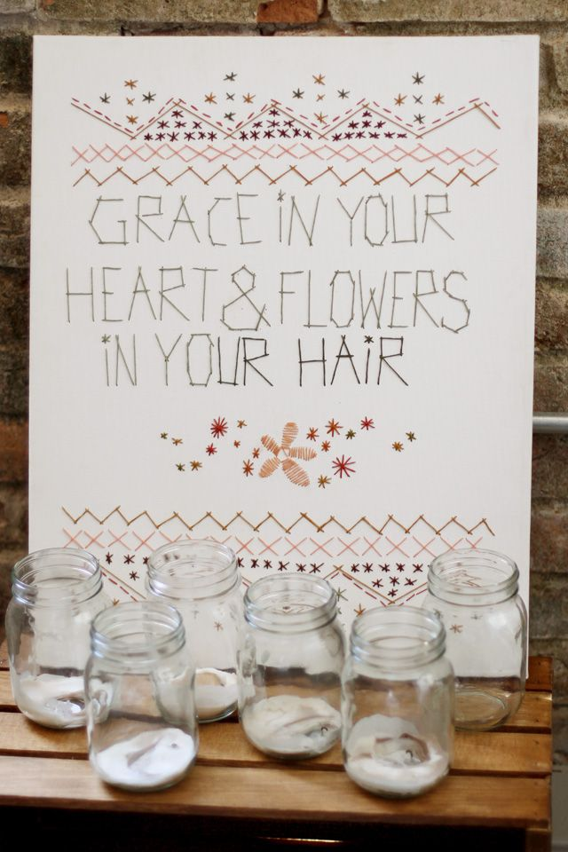 Stitching on canvas - I like it. {from Sincerely, Kinsey}