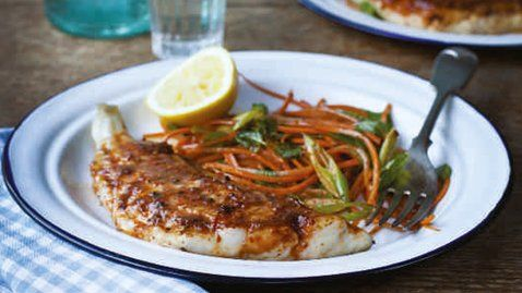 Harissa fish with carrot and mint salad - RTE Food and donal skelan