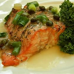 Roasted Salmon With White Wine Sauce from All Recipes