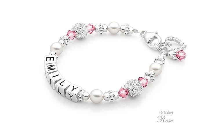 Children s christmas gift idea birthstone name bracelet in 100