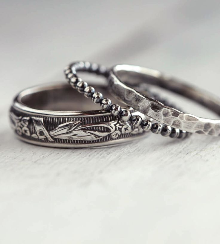 rustic sterling silver stacking ring assortment set of 3