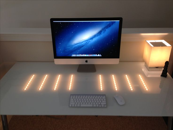 Ikea Gulliver Toddler Bed Review ~ 27  iMac, Ikea Galant white glass desk, led track lighting  Office