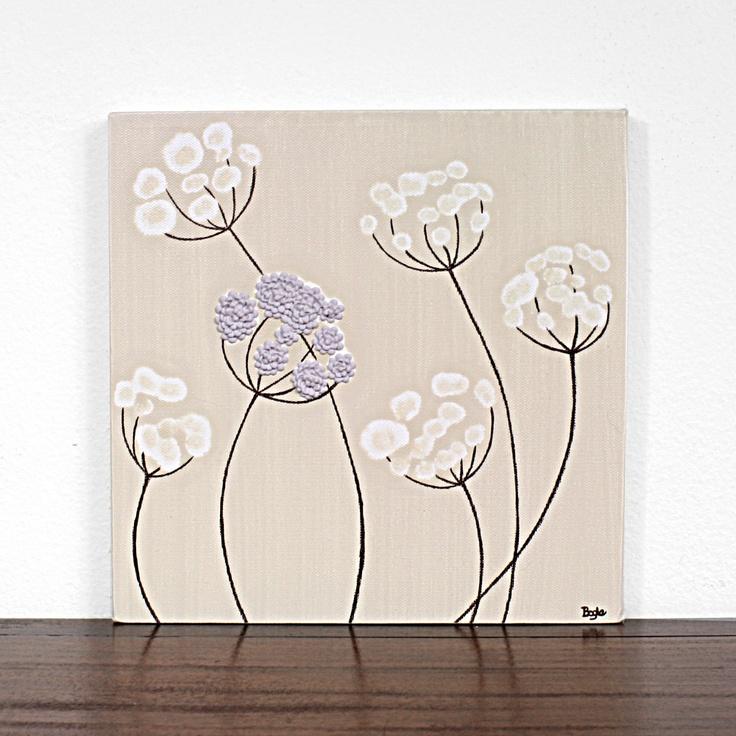 Purple Flower Painting - Original Textured Art on Canvas - Khaki and Lavender Nursery Art - 12X12 Small Canvas. $42.00, via Etsy.